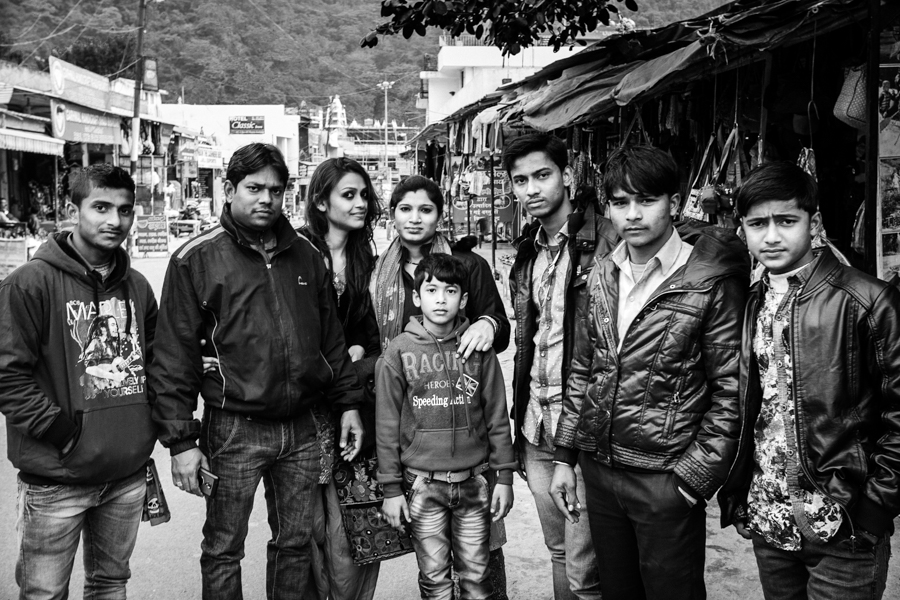 The man standing second from the left asked if I could take a picture with the girl behind him. I believe she is his daughter. During my time in Rishikesh I was asked numerous times to pose for photos with Indian tourists. It felt odd for me especially since I'm usually on the other side of the camera. (So this is what I put people through!) After I took a picture with the girl, I asked if I could take a portrait of her since she was really quite beautiful. The father (?) wasn't comfortable with my proposition and suggested that I take a group photo instead.