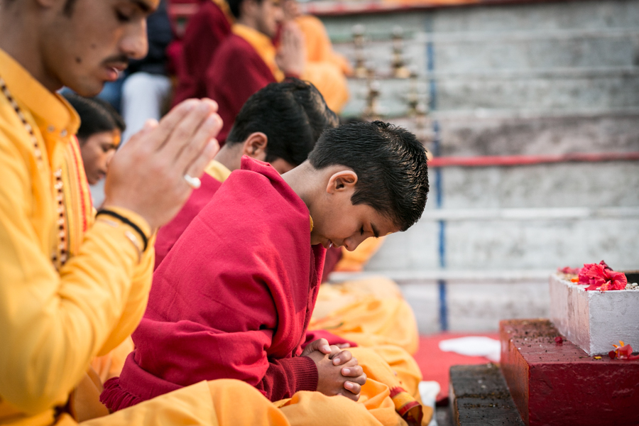 Participating in the Aarti is a honor for the young devotees.