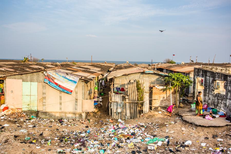Slums adjacent to Chennai's Marina Beach