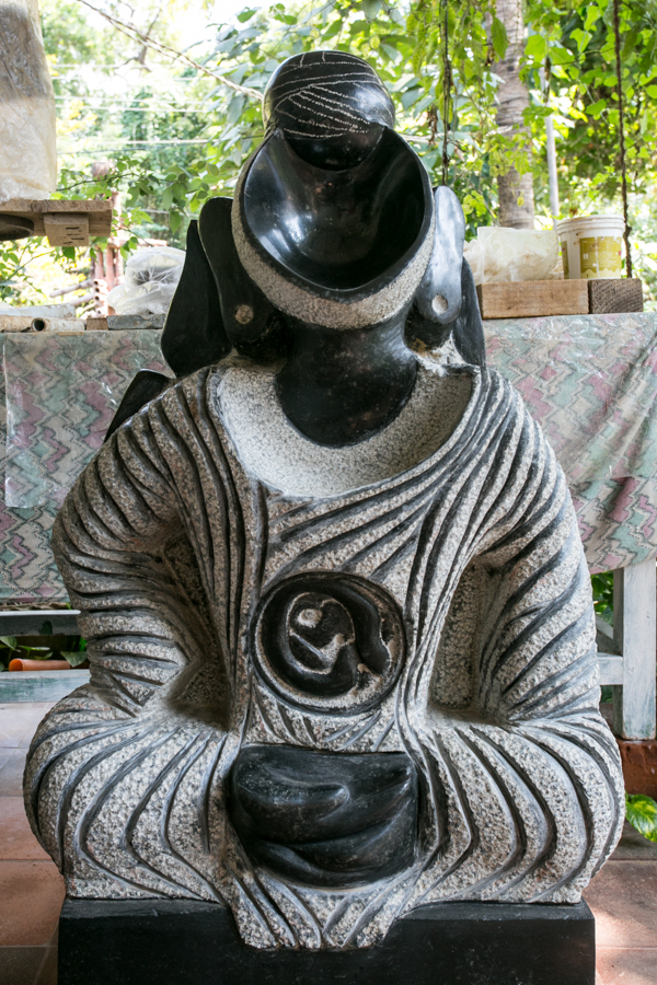 P.S. Nandhan creates granite sculptures abstractly depicting Hindu Gods.