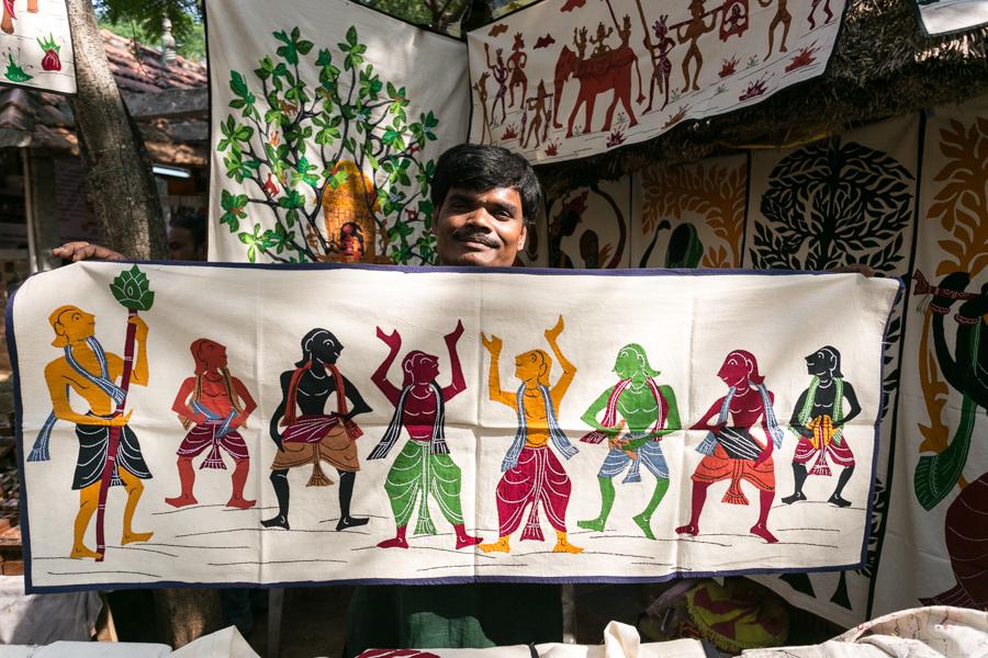 Tamil Nadu artist displaying his tapestries.