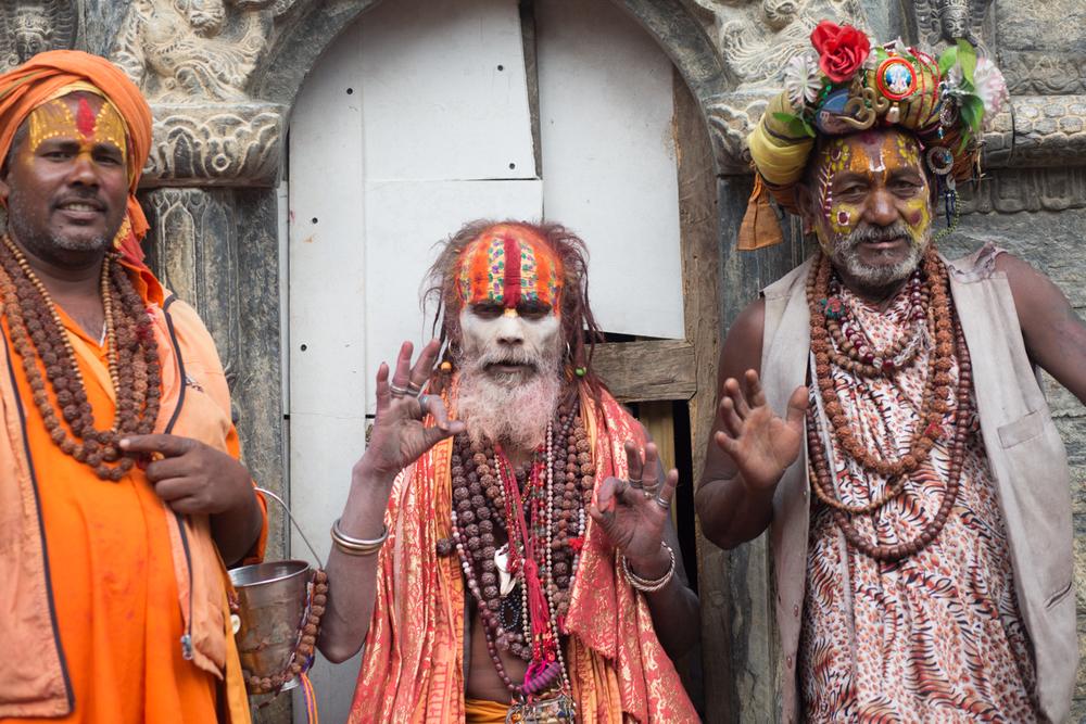 Hindu monks (Sandhus) at the Gorakhnath Temple in Kathmandhu.