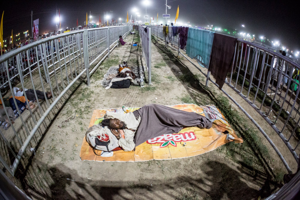 Kumbh Mela pilgrims slept wherever they could find room.