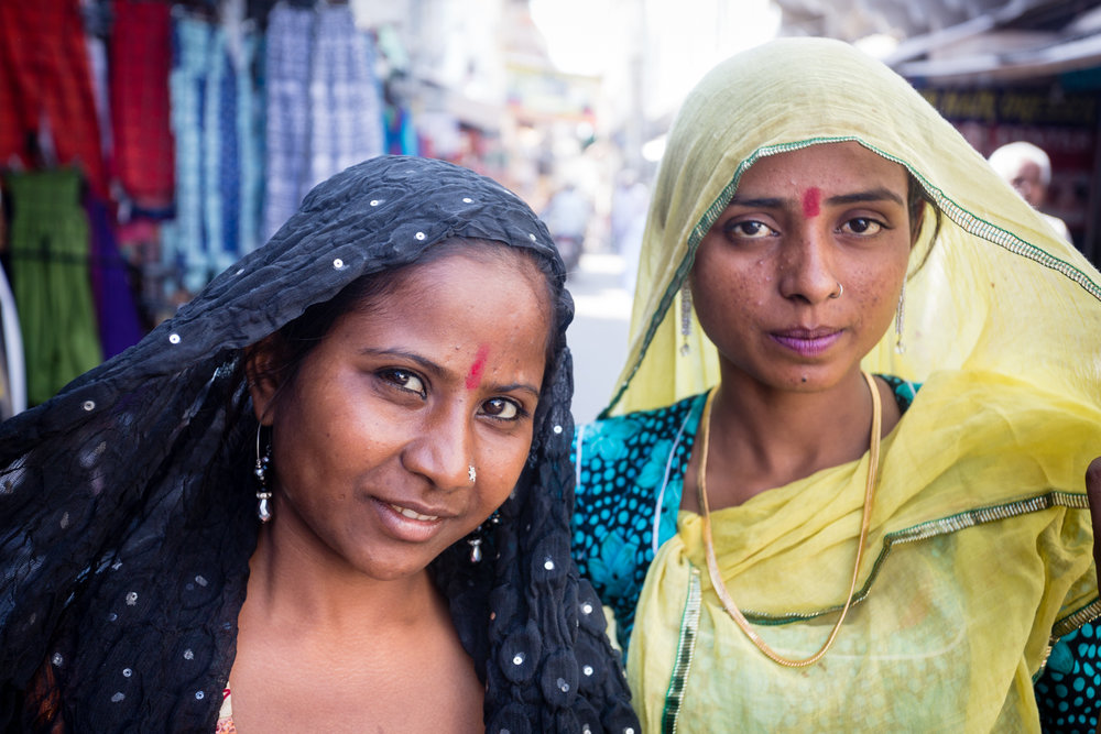 Beggars in Pushkar's main bazaar.