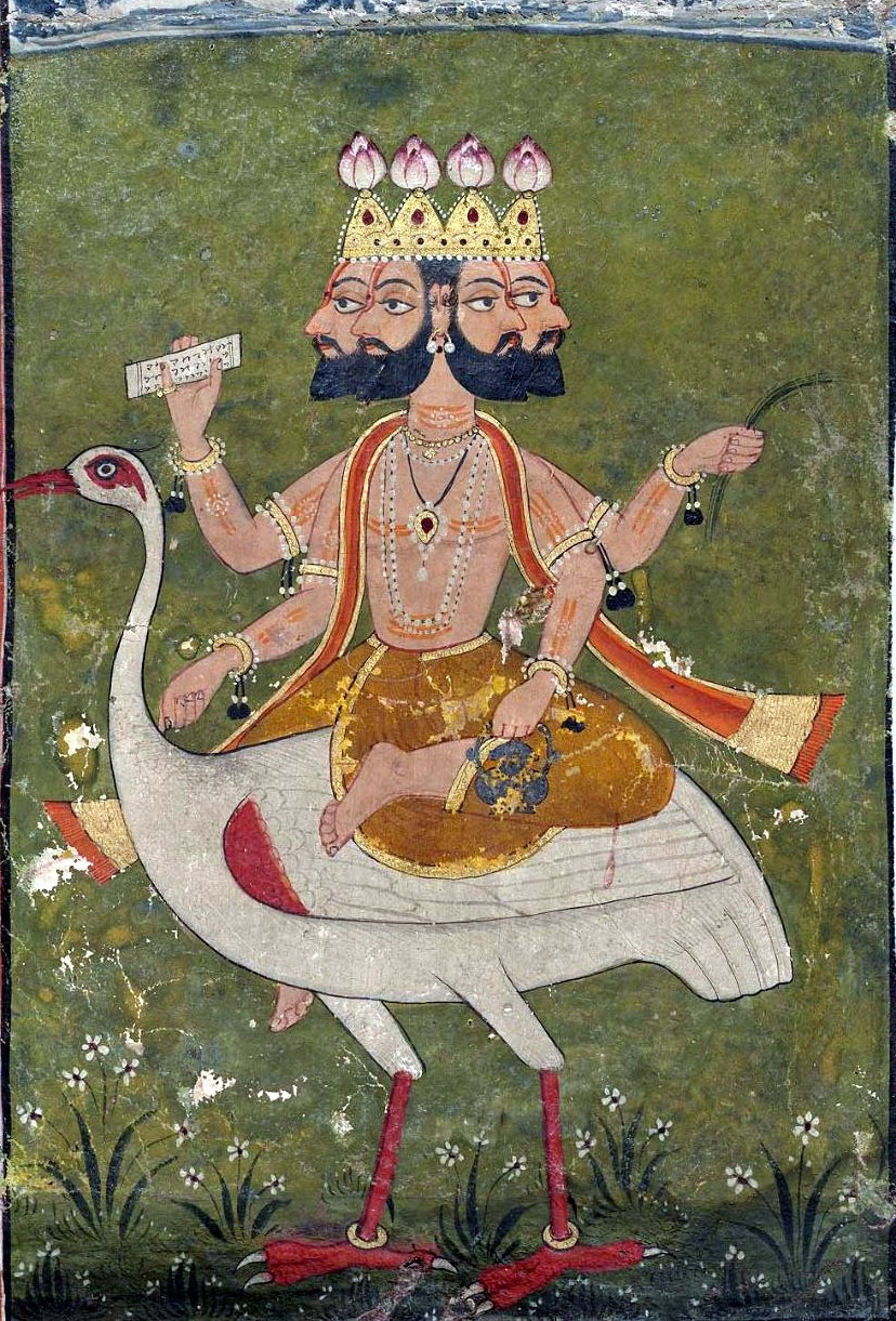 Brahma is often depicted with four faces that represent his omnipresence. [Public Domain Image, artist unknown.]