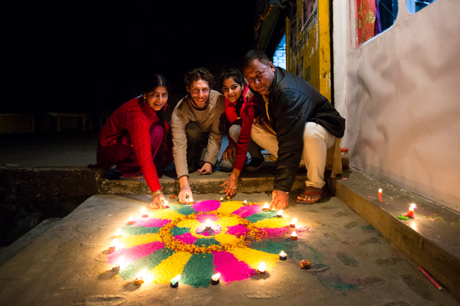 I got to celebrate Diwali with the Herr family in Bir -- a small town in the foothills of the Indian Himalaya. From left to right: Miri Herr, (myself), Lovely Herr, and a family friend of the Herr's. Rangoli are aesthetic patters created on the floor for the purpose of attracting good fortune.