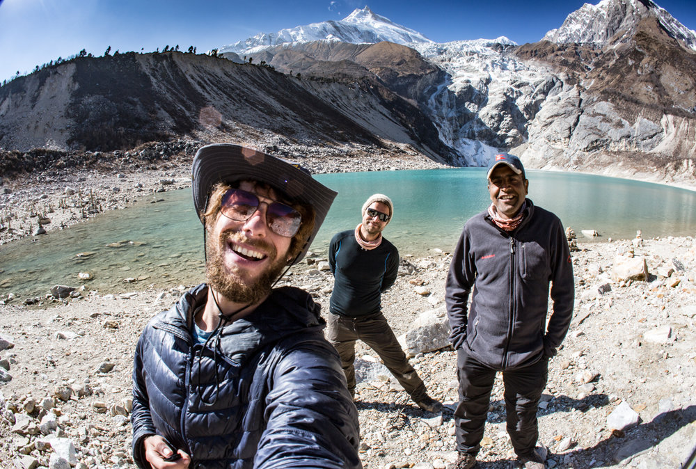 Rob, Sadu, and myself with Manaslu in the background.