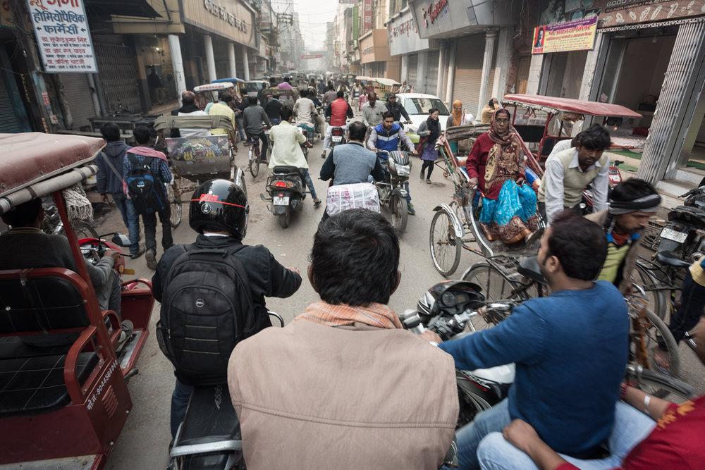 The busy backstreets of Varanasi, India.