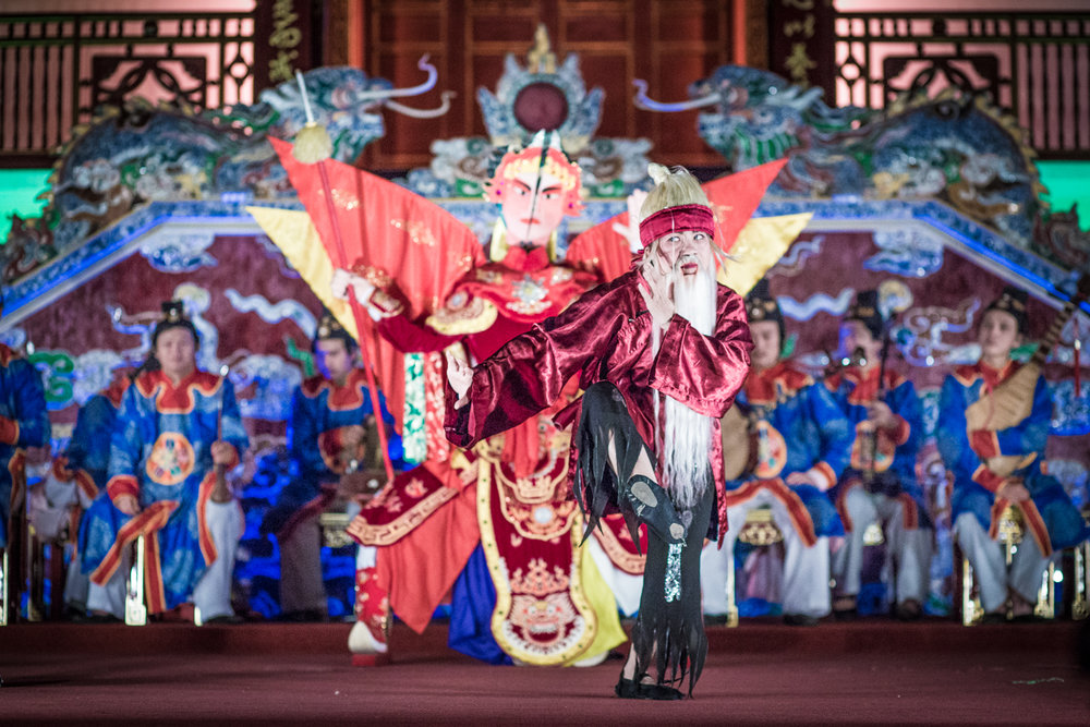 Performance of royal court music and dance at the Imperial Citadel in Hue.
