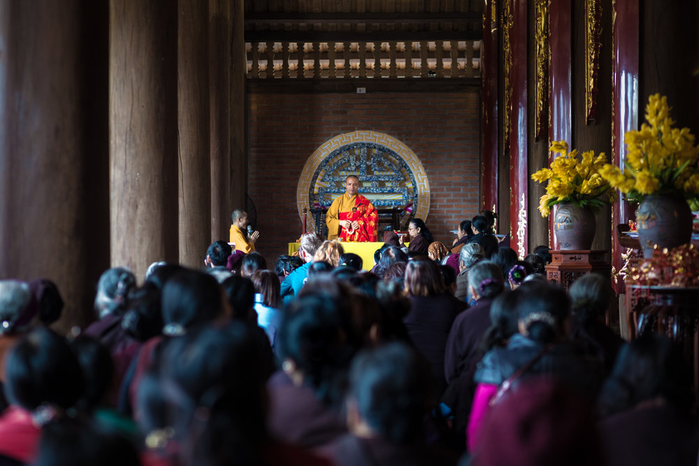 Temple service for Tet in Ha Giang City.