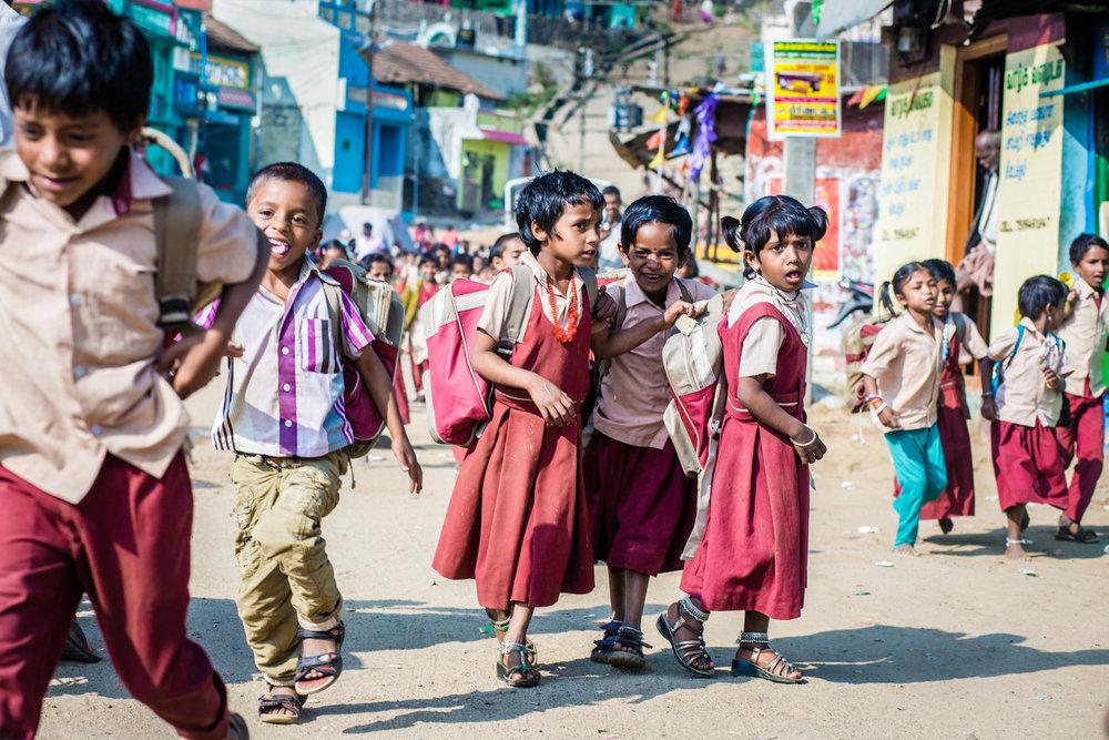 Schoolchildren in Poombarai, Tamil Nadu.