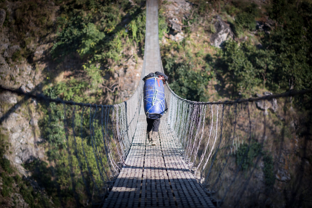 Suspension bridge in the Manaslu Reserve.