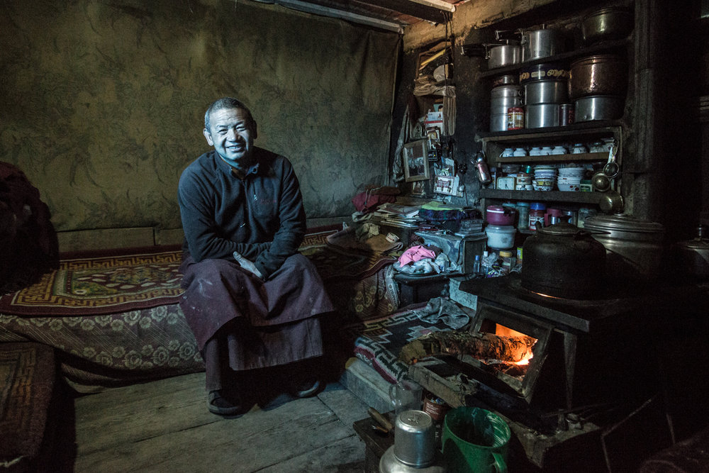 Chewang Do-do (spelled phonetically), a monk photographed in his quarters at the 111 year-old Mu Gompa Monastery (3700m) in Tsum Valley, a day walk from the Tibetan border. The Valley is populated with ethnic Tibetans.
