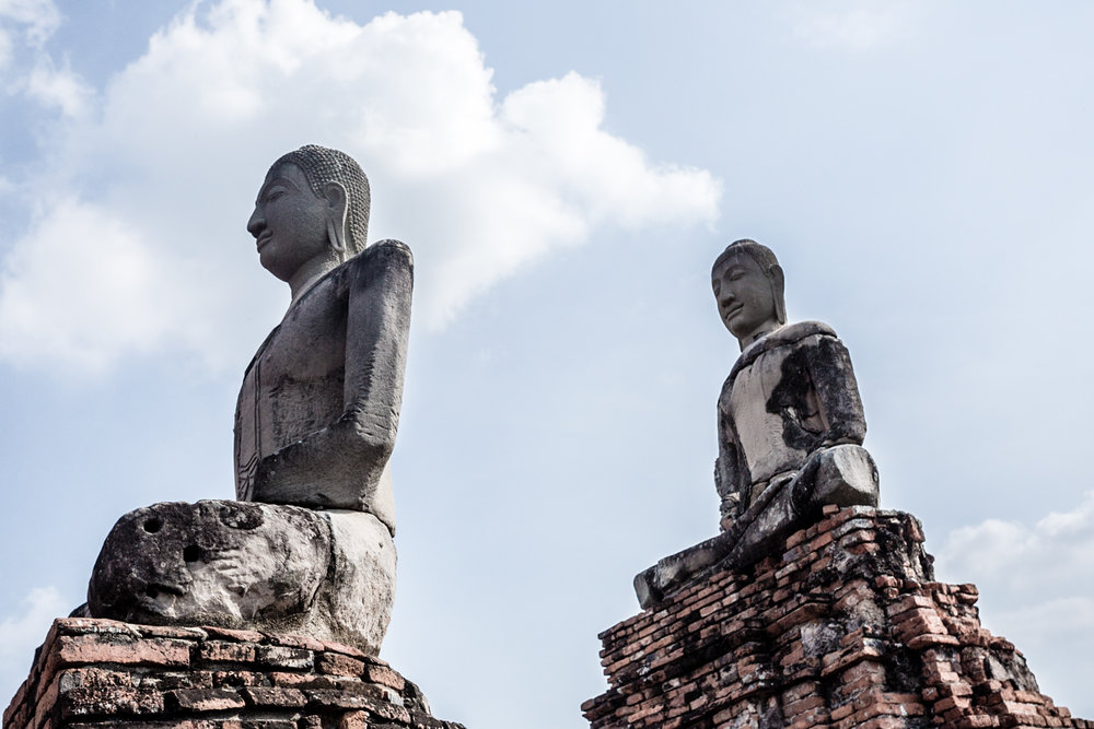 Buddha statues at Wat Ratchaburana, one of Ayuthaya's better preserved temples.