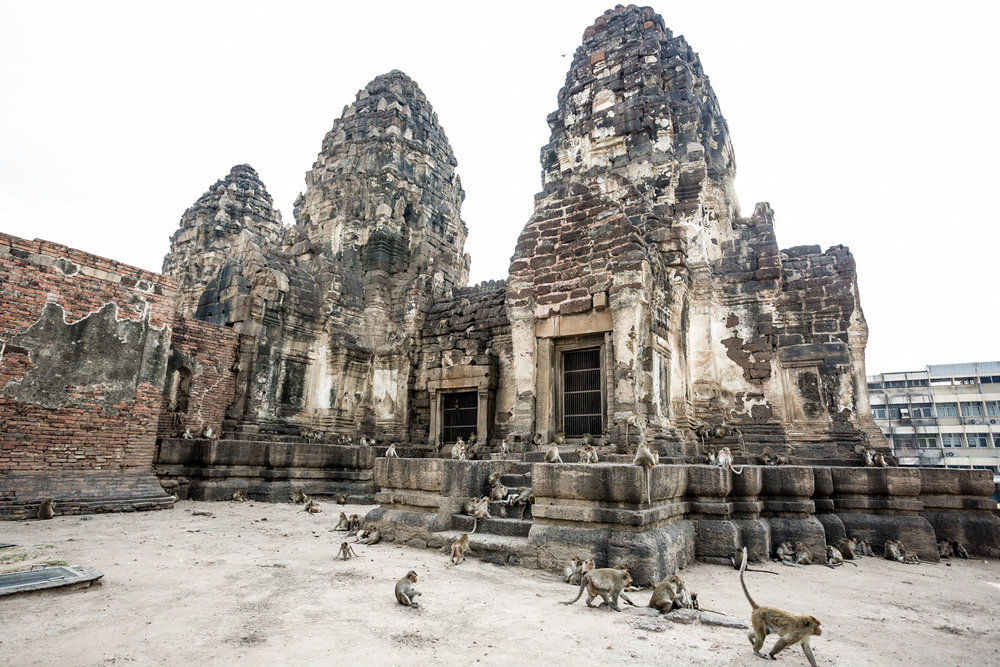 The Prang Sam Yot Temple is home to a resident troop of hundreds of monkeys.