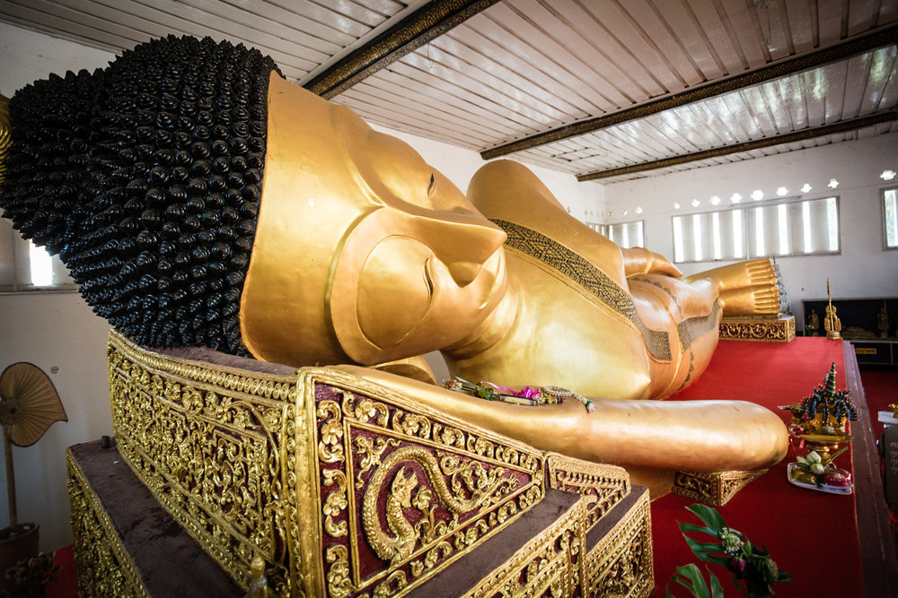 The 300-year-old reclining Buddha in Wat Phra Non, first established in the 9th century.