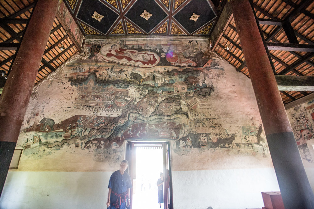 The impressively detailed mural inside Nong Bua Temple.