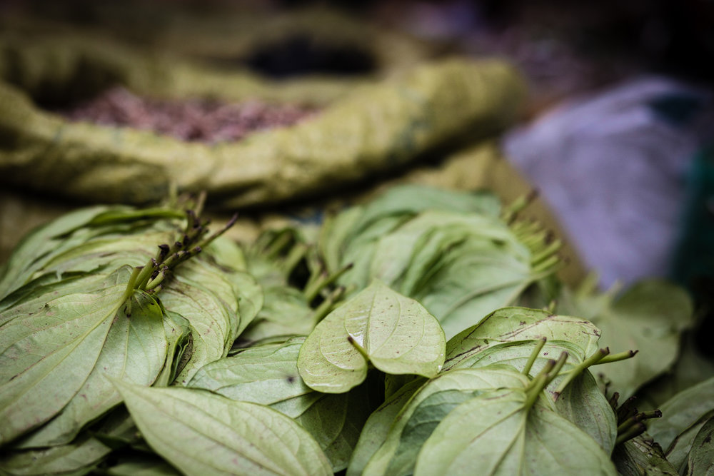 Betel leaves for sale in the bazaar at Nan Tine Village, Myanmar.