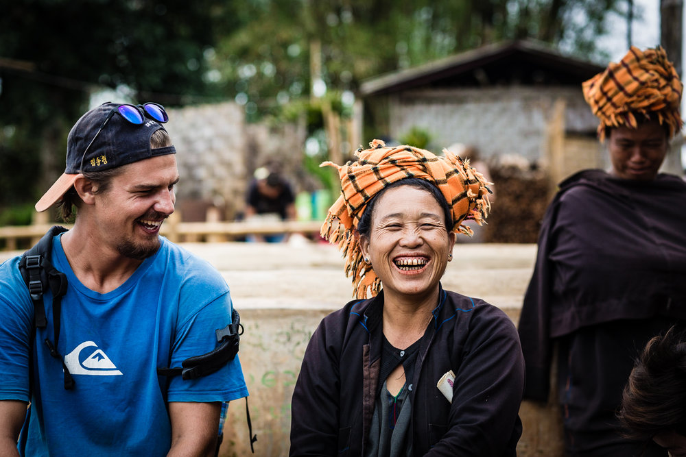 Elliott (Whales) shares a laugh with a resident of Kyaut Su, a village a day's walk from Kalaw. Although we didn't speak the same language, we managed to make joke and share some laughs with the locals.