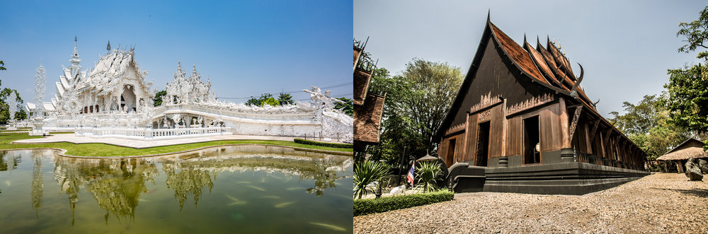 The diaphanous Wat Rong Khun (left) and sinsiter Baan Dum house (right) are both Thai modern architectural masterpieces.