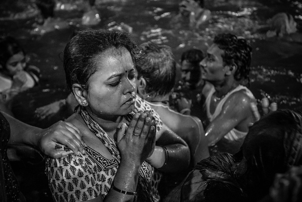 Hindu pilgrims at the 2016 Kumbh Mela in the city of Ujjain. The ancient festival attracted an estimated 70 million pilgrims to baptist in Ujjain's Shipra River Ghats.