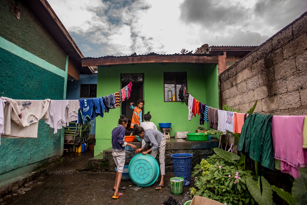 Laundry day at at Fikir House, one of the two group homes.