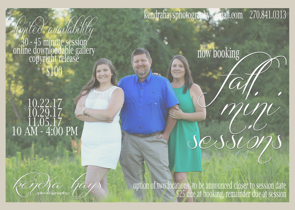 FALL MINI SESSIONS - 30-45 MINUTE SESSIONSOnline Gallery with download & copyright release!These are the perfect addition to Christmas cards or gifts! Don't wait until everyone is moved out of the house before you get family pictures made!