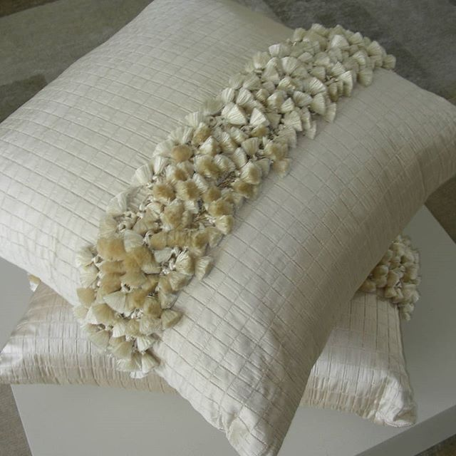 Decorative pillow with silk detail designed by me #scatter pillow#interiors #tassle fringes