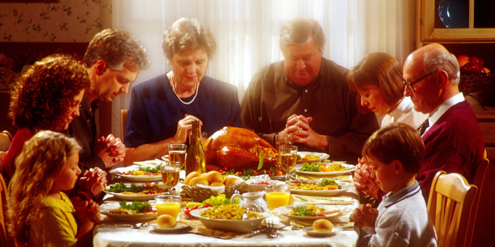 "The meal commences when the family Patriarch announces LOUDLY ""Shit I've glued my hands together"" - then you can feast."
