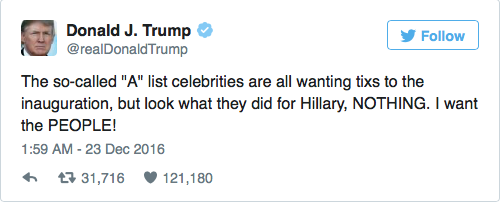 The President Elect has previously expressed distress at the number of celebrities who have refused to perform at his ceremony.