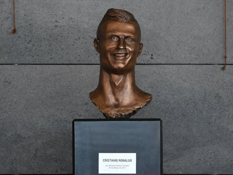 THE NEW SCULPTURE OF RONALDO WAS UNVEILED THIS WEEK.