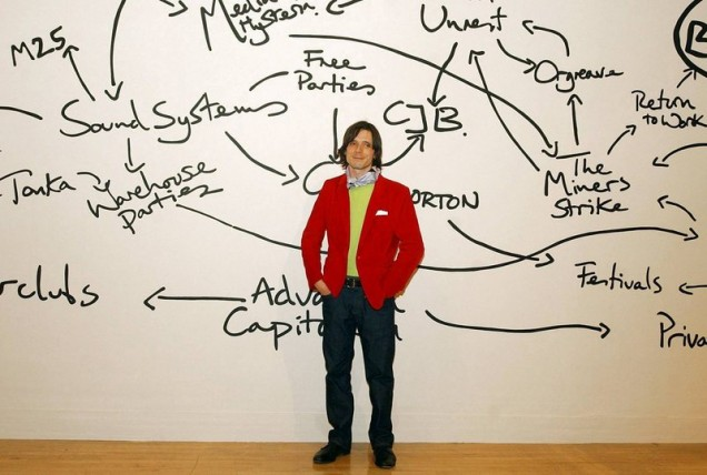 Jeremy Deller in front of The History of the World