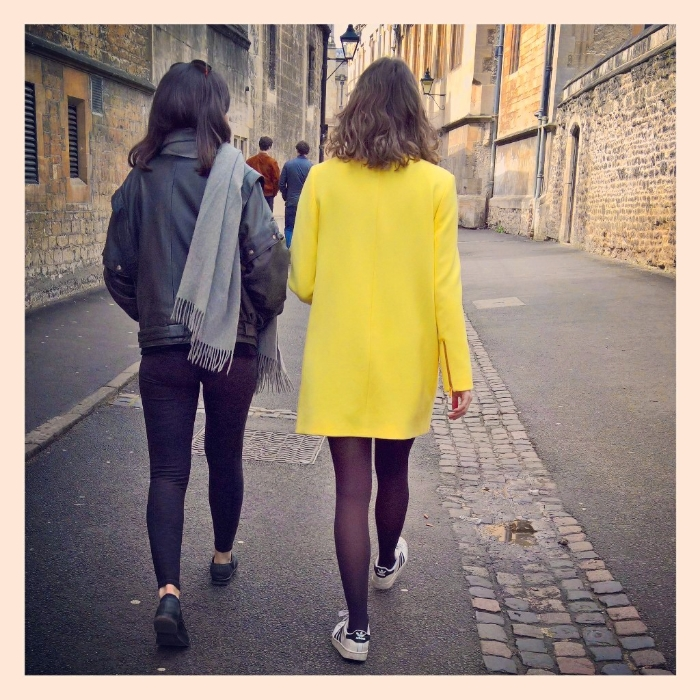 Yellow coat in Brasenose Lane