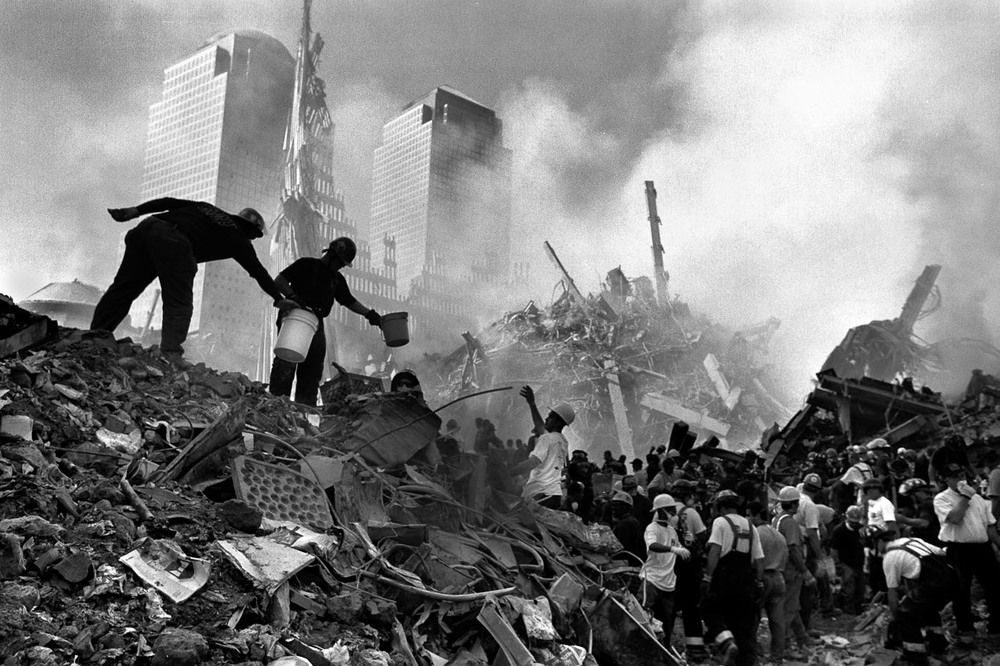 Recovery efforts proceed at Ground Zero after the terrorist attacks of September 11, 2001.