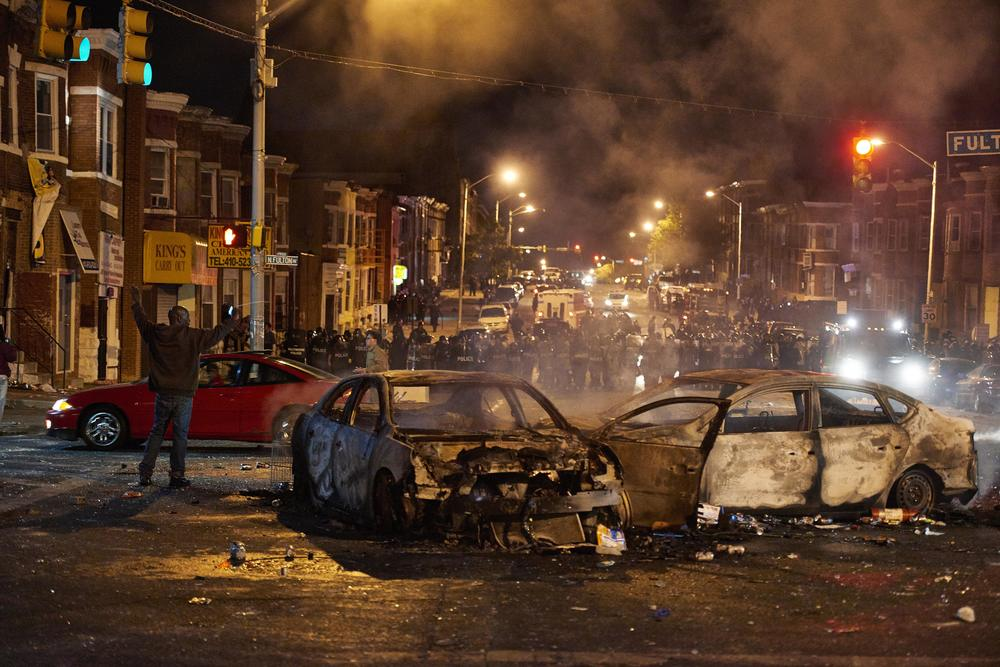 Aftermath following the funeral of Freddie Gray on Monday, Apr. 27, 2015 in Baltimore , M.D.