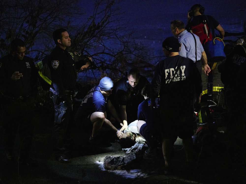 A half-dozen teenagers were rescued after plunging through thin ice over the Central Park Pond on Monday evening on Monday, February 20, 2017 in Manhattan, N.Y.