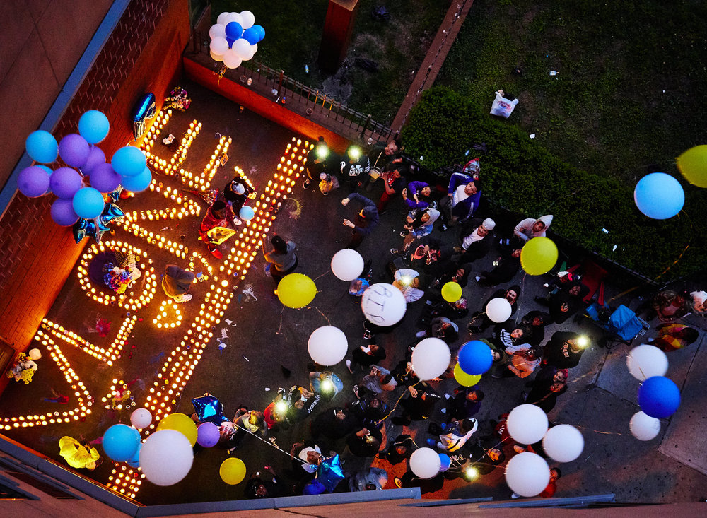 Friends and family members of shooting victim Vlana Roberts release balloons at a memorial outside her apartment on Sunday, June 3, 2018 in the Bronx. Vlana was shot to death during a large street fight in the Bronx.