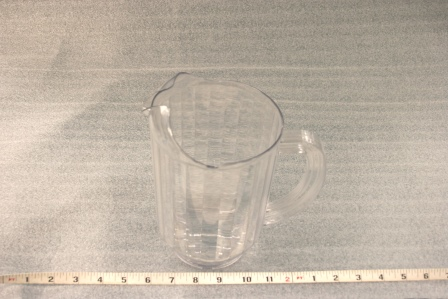 "Plastic Pitcher  60oz. Height 8""  Width 5"" $3.00"