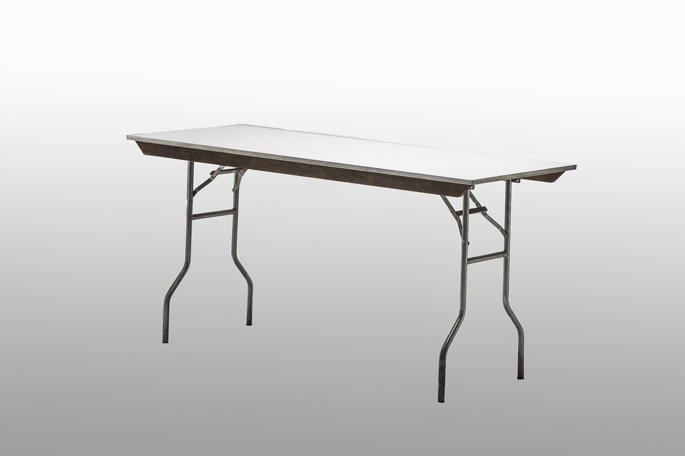 "Formica Topped Catering tables, 30"" wide, 36"" tall, and 6' or 8' long    $16.00"