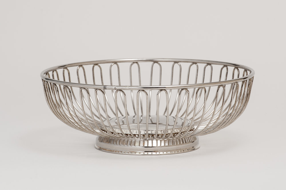 "Silver Bread Basket Round 9 1/4"" or Oval   $4.00"