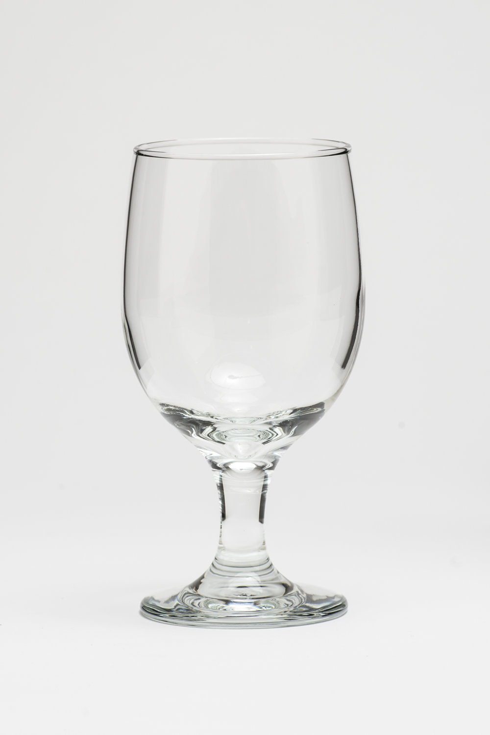 "Water Goblet 12 oz.    Height 6"" Width 2 3/4""  $0.70"