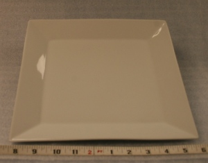 "Square Dinner Plate 10 3/4""   $0.85"