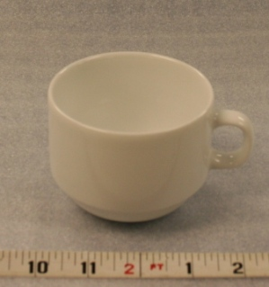 "White Elegance Cup   Height 2 5/8""  Width 3 1/4""  Volume 6 oz.  $0.70"