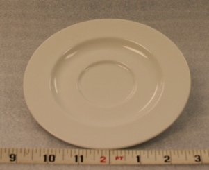 "White Elegance Saucer   Height 1""  Width 6 3/8""  $0.70"