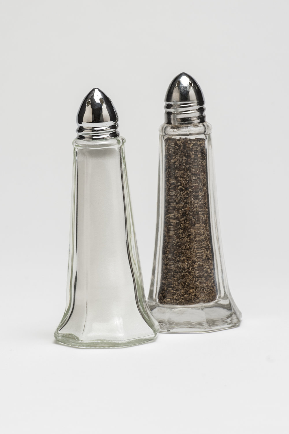 "Salt and Pepper (filled)   Height 4 1/2""  $4.50/set"