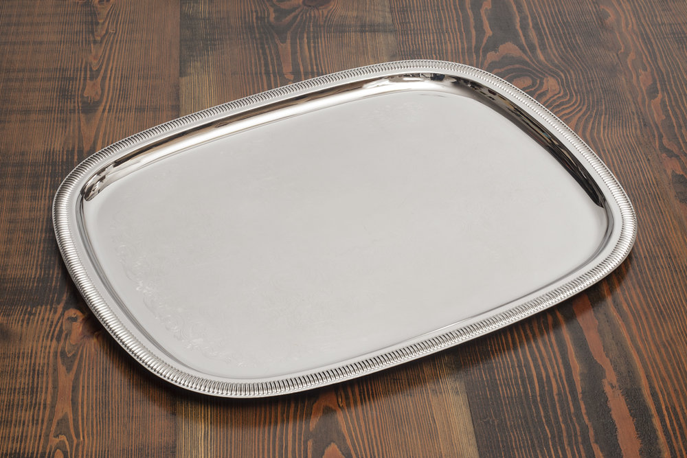 "Stainless Steel Serving Tray 18""X23""   $15.00"