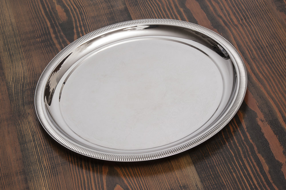 "Stainless Steel Serving Tray Round 15"" or 12""   $8.00 or $6.00"