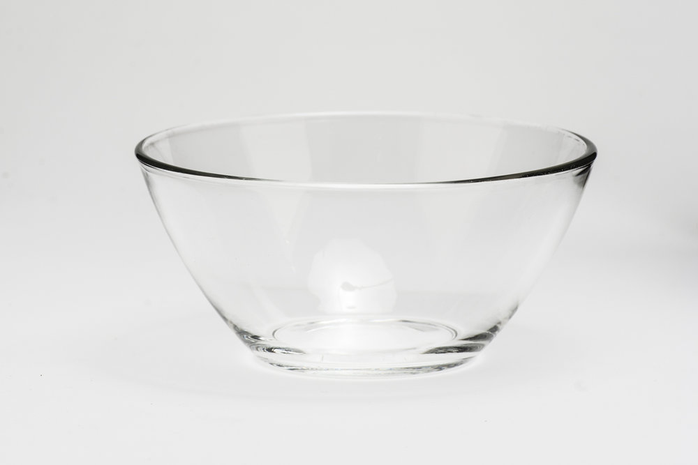 "Clear Bowl 6 oz.   Height 2""  Width 4""  $0.65"