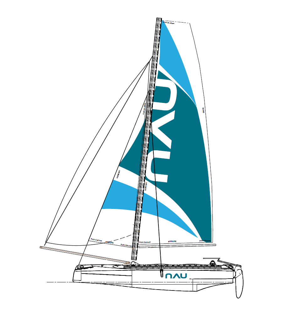 Technical specifications:  - •Length: 13' or 3,96m•Width: 2,15 m•Weight: 120 kg•North Sails•Main: 7,4m²•Jib on reel: 2.1 m²•Option : asymmetrical spinnaker 6.2 m²•AG+ Mast in aluminium : 6 m•Fittings : Allen•Capacity : 3 people