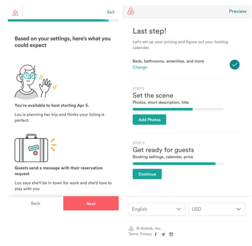 - Airbnban incredibly seamless experiencewith sweet illustrations and engaging copy